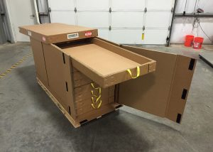 Shipping container with pullout drawers and handles